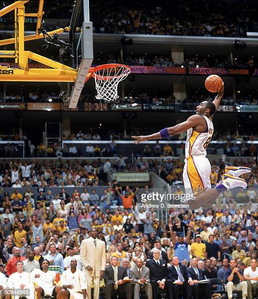 Kobe Bryant of the Los Angeles Lakers takes the ball to the basket during Game One of the 2004 NBA Finals against the Detroit Pistons at Staples...