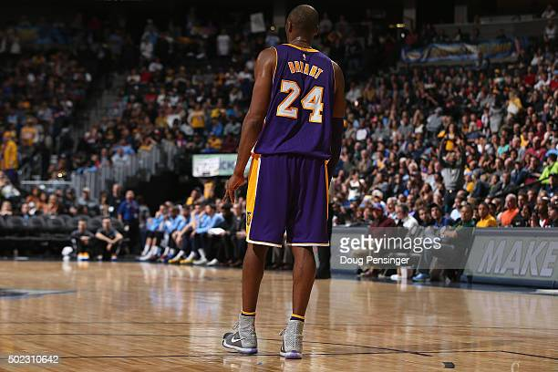 Kobe Bryant of the Los Angeles Lakers takes the court against the Denver Nuggets at Pepsi Center on December 22 2015 in Denver Colorado The Lakers...
