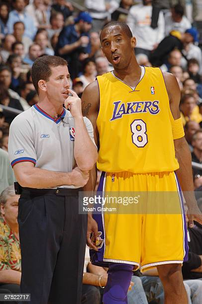 Kobe Bryant of the Los Angeles Lakers talks to referee Tim Donaghy during the game against the Phoenix Suns in game three of the Western Conference...