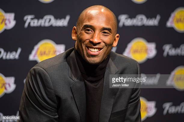 Kobe Bryant of the Los Angeles Lakers talks to the media during a press conference prior to the game against the Cleveland Cavaliers at Quicken Loans...