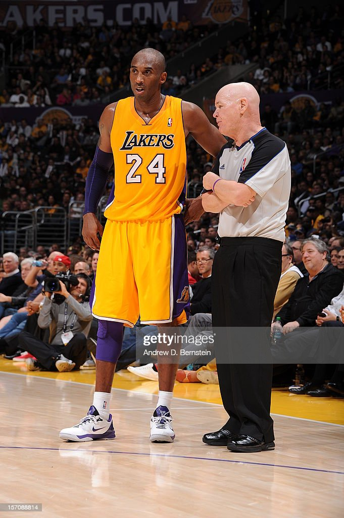 Kobe Bryant #24 of the Los Angeles Lakers talks with referee Joey Crawford during the game against the Indiana Pacers at Staples Center on November 27, 2012 in Los Angeles, California.