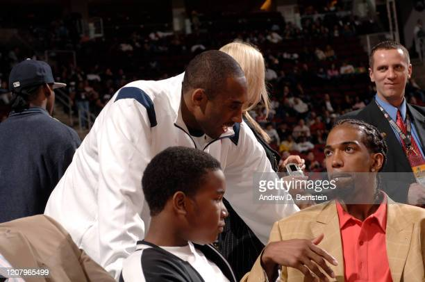 Kobe Bryant of the Los Angeles Lakers talks with Richard Hamilton of the Detroit Pistons during the TMobile Rookie Challenge on February 17 2006 at...