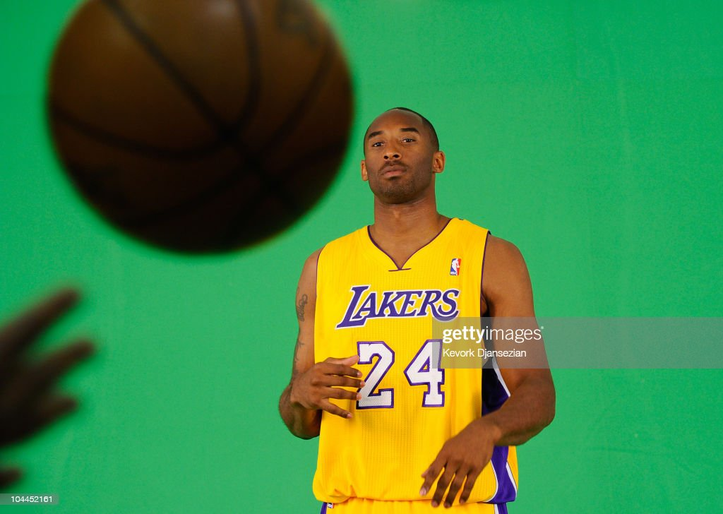 Kobe Bryant #24 of the Los Angeles Lakers tapes a television segment during Media Day at the Toyota Center on September 25, 2010 in El Segundo, California.