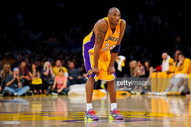 Kobe Bryant of the Los Angeles Lakers waits to resume action against the Oklahoma City Thunder in Game Four of the Western Conference Semifinals...