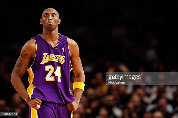 Kobe Bryant of the Los Angeles Lakers walks down the court against the New York Knicks on February 2, 2009 at Madison Square Garden in New York City....