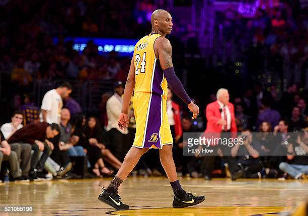 Kobe Bryant of the Los Angeles Lakers walks down the court in the fourth quarter while taking on the Utah Jazz at Staples Center on April 13, 2016 in...