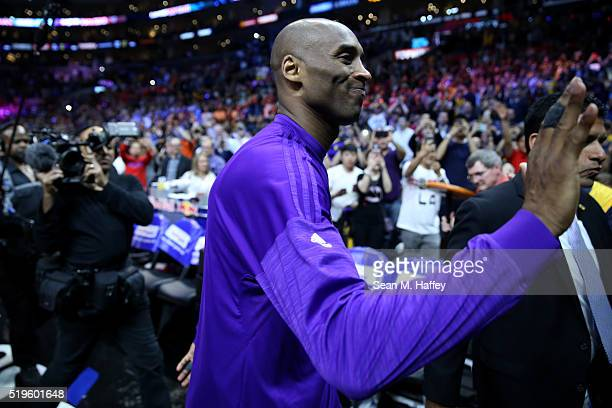 Kobe Bryant of the Los Angeles Lakers walks off the court after an NBA game between Los Angeles Clippers vs Los Angeles Lakers April 5 2016 at...