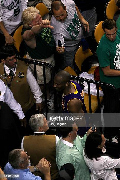 Kobe Bryant of the Los Angeles Lakers walks off the court after the Boston Celtics won 9286 during Game Five of the 2010 NBA Finals on June 13 2010...
