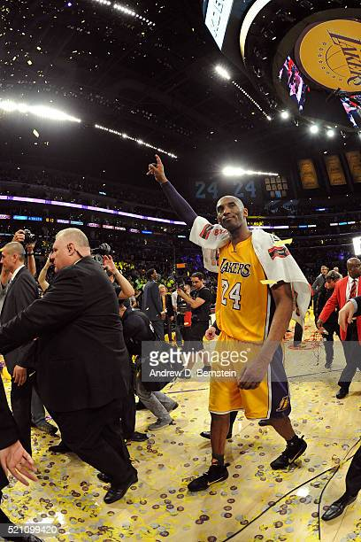 Kobe Bryant of the Los Angeles Lakers walks off the court after the game against the Utah Jazz on April 13, 2016 at Staples Center in Los Angeles,...