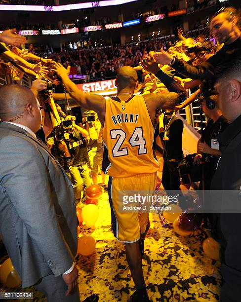 Kobe Bryant of the Los Angeles Lakers walks off the court after the game against the Utah Jazz on April 13 2016 at Staples Center in Los Angeles...