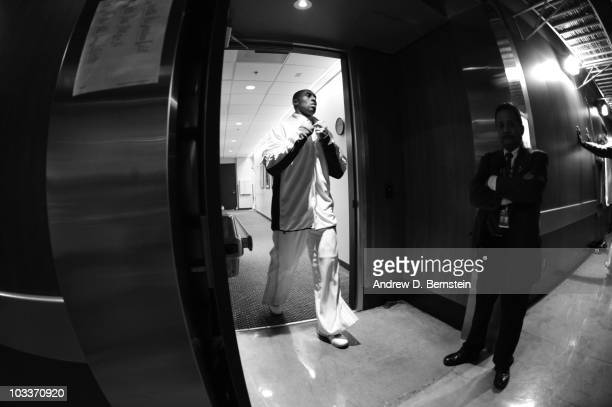 Kobe Bryant of the Los Angeles Lakers walks out of the locker room prior to the game against the Houston Rockets on November 15 2009 at Staples...