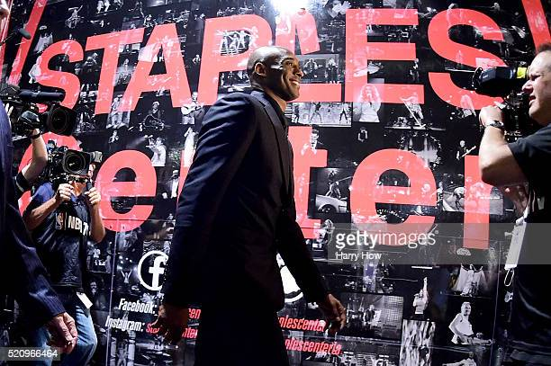 Kobe Bryant of the Los Angeles Lakers walks to the locker room before his final game at Staples Center on April 13 2016 in Los Angeles California...