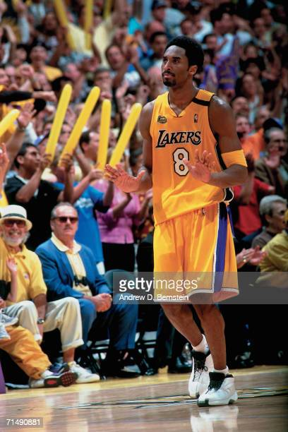 Kobe Bryant of the Los Angeles Lakers walks up court against the Indiana Pacers during Game Six of the 2000 NBA Finals on June 19 2000 at the Staples...