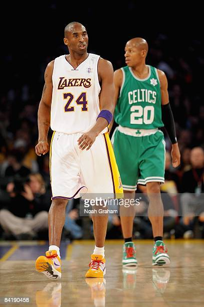 Kobe Bryant of the Los Angeles Lakers walks up court followed by Ray Allen of the Boston Celtics during the game on December 25 2008 at Staples...