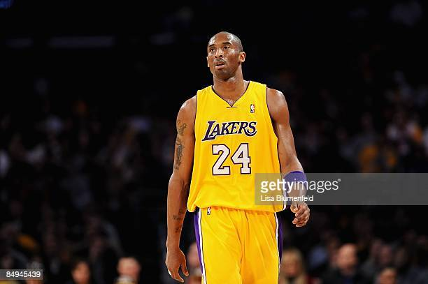 Kobe Bryant of the Los Angeles Lakers walks upcourt during the game against the Atlanta Hawks at Staples Center on February 17 2009 in Los Angeles...