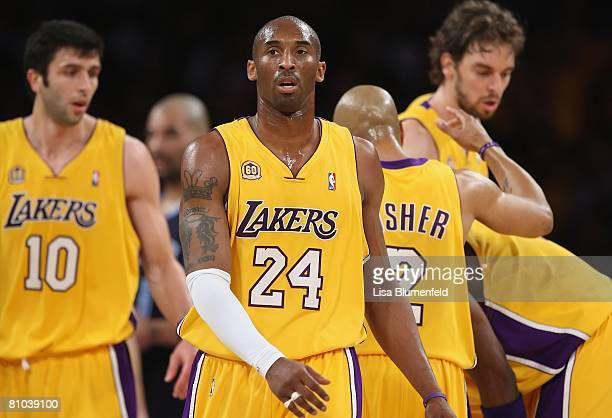Kobe Bryant of the Los Angeles Lakers walks upcourt in Game Two of the Western Conference Semifinals against the Utah Jazz during the 2008 NBA...