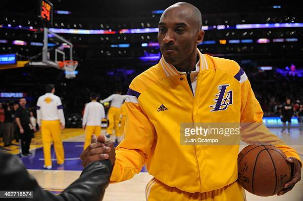 Kobe Bryant of the Los Angeles Lakers warms up before a game against the Cleveland Cavaliers at STAPLES Center on January 15 2015 in Los Angeles...