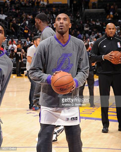 Kobe Bryant of the Los Angeles Lakers warms up before the game against the Los Angeles Clippers at STAPLES Center on December 25 2015 in Los Angeles...