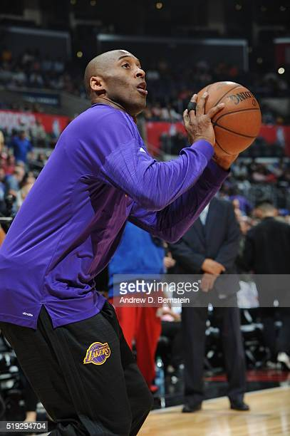 Kobe Bryant of the Los Angeles Lakers warms up before the game against the Los Angeles Clippers on April 5 2016 at STAPLES Center in Los Angeles...