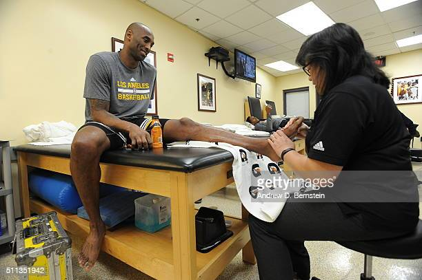 Kobe Bryant of the Los Angeles Lakers warms up in the locker room before the game against the San Antonio Spurs on February 19 2016 at STAPLES Center...
