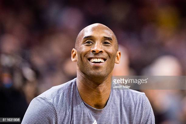 Kobe Bryant of the Los Angeles Lakers warms up on the court prior to the game against the Cleveland Cavaliers at Quicken Loans Arena on February 10...