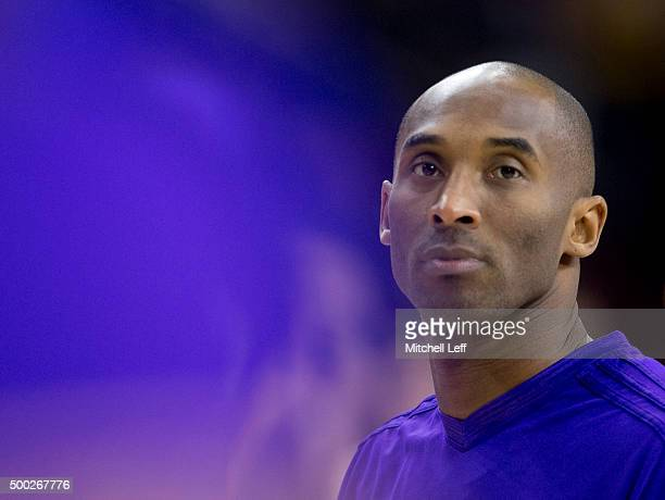 Kobe Bryant of the Los Angeles Lakers warms up prior to the game against the Philadelphia 76ers on December 1 2015 at the Wells Fargo Center in...
