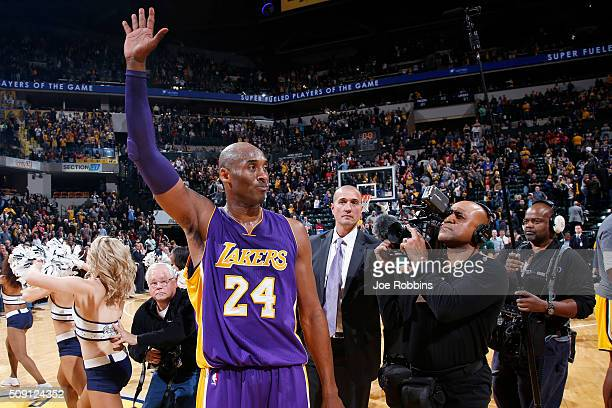 Kobe Bryant of the Los Angeles Lakers waves to fans after the game against the Indiana Pacers at Bankers Life Fieldhouse on February 8 2016 in...
