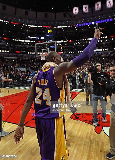 Kobe Bryant of the Los Angeles Lakers waves to the crowd after a game against the Chicago Bulls at the United Center on February 21, 2016 in Chicago,...