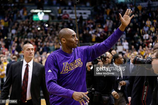 Kobe Bryant of the Los Angeles Lakers waves to the crowd after the game against the Milwaukee Bucks at BMO Harris Bradley Center on February 22 2016...