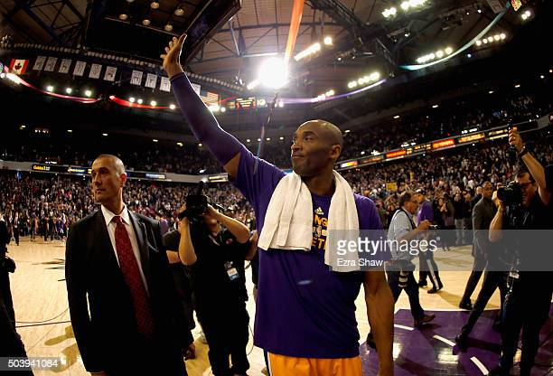 Kobe Bryant of the Los Angeles Lakers waves to the crowd after their game against the Sacramento Kings at Sleep Train Arena on January 7 2016 in...