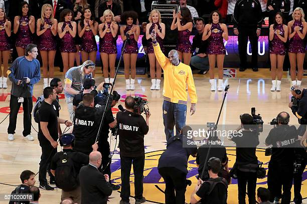 Kobe Bryant of the Los Angeles Lakers waves to the crowd before taking on the Utah Jazz in Bryant's final NBA game at Staples Center on April 13 2016...