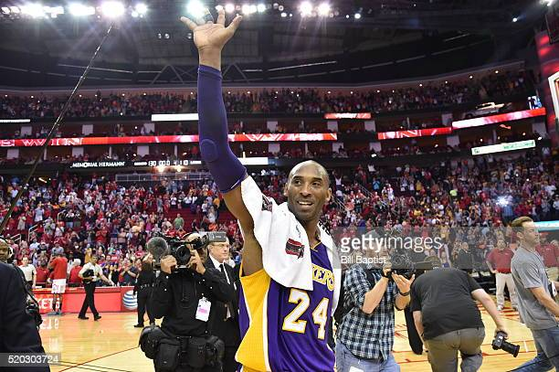 Kobe Bryant of the Los Angeles Lakers waves to the fans after the game against the Houston Rockets on April 10 2016 at the Toyota Center in Houston...