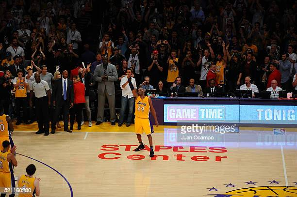 Kobe Bryant of the Los Angeles Lakers waves to the fans against the Utah Jazz at STAPLES Center on April 13, 2016 in Los Angeles, California. NOTE TO...