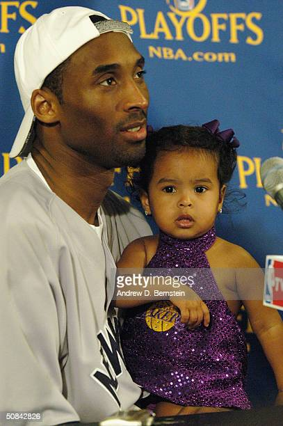 Kobe Bryant of the Los Angeles Lakers with daughter Natalia Diamante Bryant at the press conference following the game versus the San Antonio Spurs...