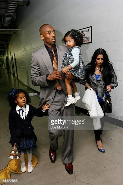 Kobe Bryant of the Los Angeles Lakers with family exit the arena after Game Three of the 2008 NBA Finals on June 10 2008 at the Staples Center in Los...