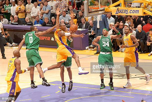 Kobe Bryant of the Los Angeles Lakerse goes up for a shot against Leon Powe of the Boston Celtics in Game Four of the 2008 NBA Finals at Staples...