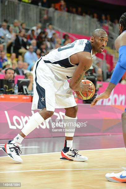 Kobe Bryant of the United States dribbles versus France at the Olympic Park Basketball Arena during the London Olympic Games on July 29, 2012 in...
