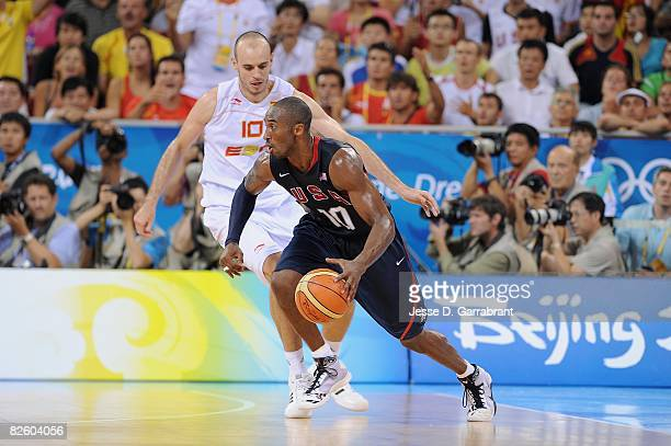 Kobe Bryant of the United States drives the ball against Carlos Jimenez of Spain during the gold medal game of the 2008 Beijing Summer Olympics at...