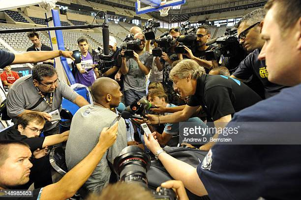 Kobe Bryant of the US Men's Senior National Team answers questions from the media before practice on July 21 2012 at Palau Sant Jordi in Barcelona...