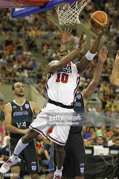 Kobe Bryant of the US Men's Senior National team at the basket during an exhibition game against Argentina Men's team at Palau Sant Jordi Arena on...