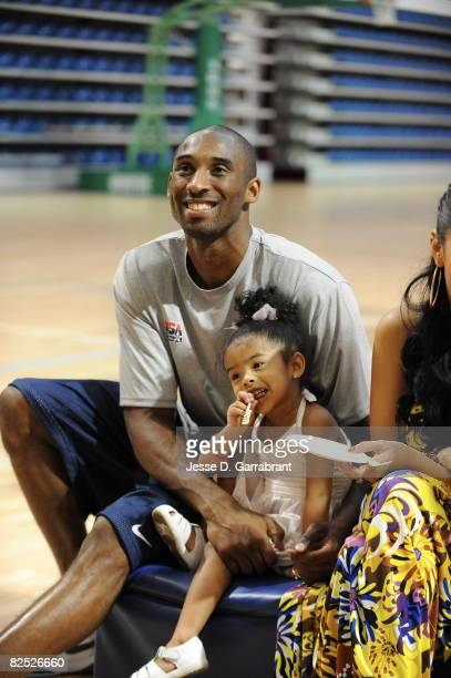 Kobe Bryant of the US Men's Senior National Team celebrates his birthday with his daughter Nyla during practice at the 2008 Beijing Summer Olympics...