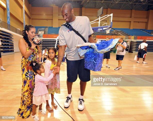 Kobe Bryant of the U.S. Men's Senior National Team celebrates his birthday with his family, Nyla, Vanessa and Natalia during practice at the 2008...