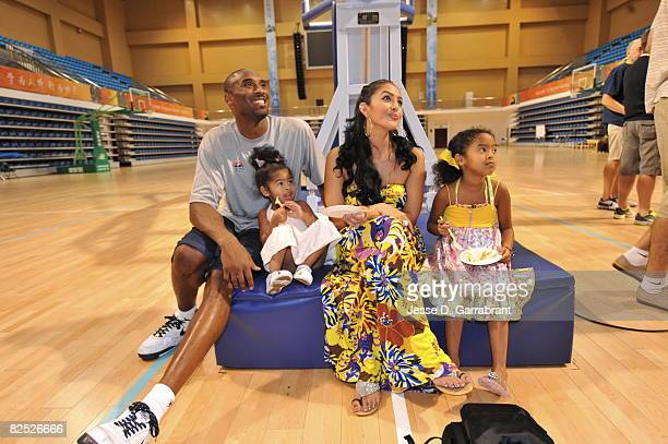 Kobe Bryant of the US Men's Senior National Team celebrates his birthday with his family Nyla Vanessa and Natalia during practice at the 2008 Beijing...