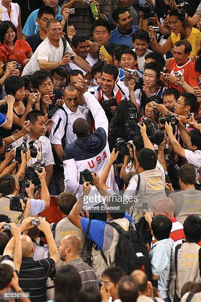 Kobe Bryant of the US Men's Senior National Team celebrates winnng the men's goldmedal with Rob Pelinka at the 2008 Beijing Olympic Games at the...