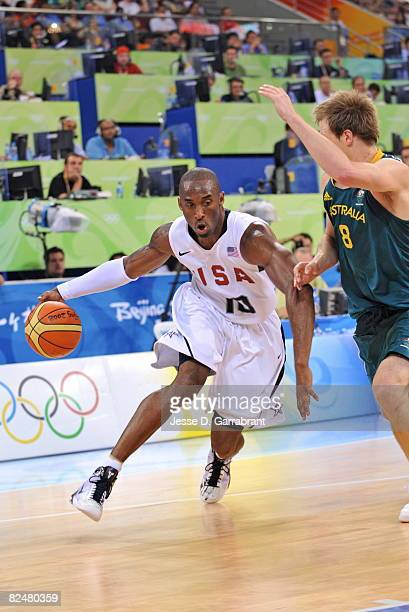 Kobe Bryant of the US Men's Senior National Team drives against Brad Newley of Australia during the men's quarterfinals basketball game at the 2008...
