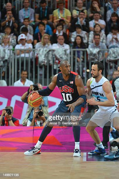 Kobe Bryant of the US Men's Senior National Team drives against Manu Ginobili of Argentina during their Basketball Game on Day 10 of the London 2012...