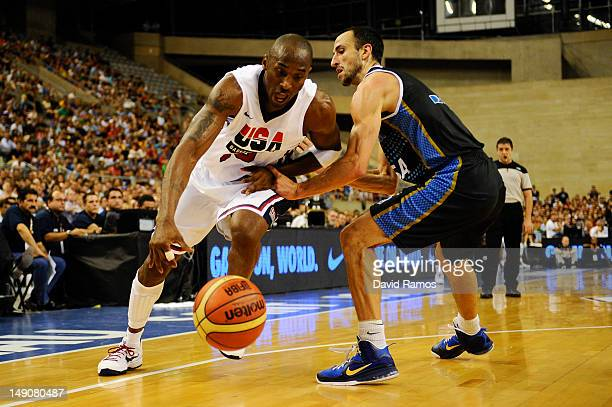 Kobe Bryant of the US Men's Senior National Team drives to the basket to the basket against Emanuel Ginobili of the Argentina Men's Senior National...