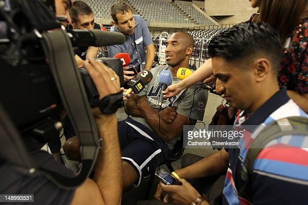 Kobe Bryant of the US Men's Senior National team is interviewed by the media before practice at Palau Sant Jordi II arena in Barcelona Spain on July...