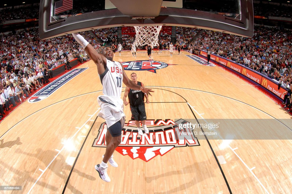 Kobe Bryant #10 of the USA Basketball Men's Senior National Team gets to the hoop for a dunk against the Canadian National Team during the State Farm USA Basketball Challenge on July 25, 2008 at the Thomas and Mack Center in Las Vegas, Nevada.