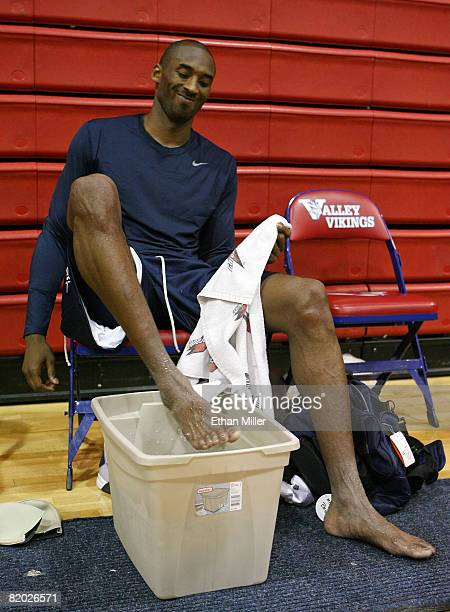 Kobe Bryant of the USA Basketball Men's Senior National Team ices his feet after a practice at Valley High School June 21 2008 in Las Vegas Nevada
